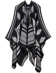 Geométricas de estilo de moda Nepal mujeres espesado manta bufanda abrigo Poncho chal cabo acogedor imitación Cashmere regalos ideales para mujer de gran tamaño 150 * 130cm , black