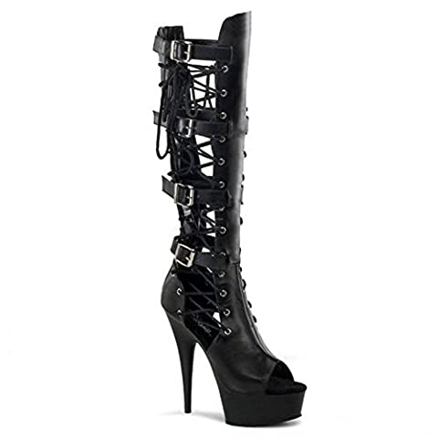 Ladies's Ladies Short Low Boots New Fashion Delight Sexy High Heel Side Lace Up Waterproof Artificial PU Fall Winter Stage Nightclub , Matte black , EUR 38/ UK