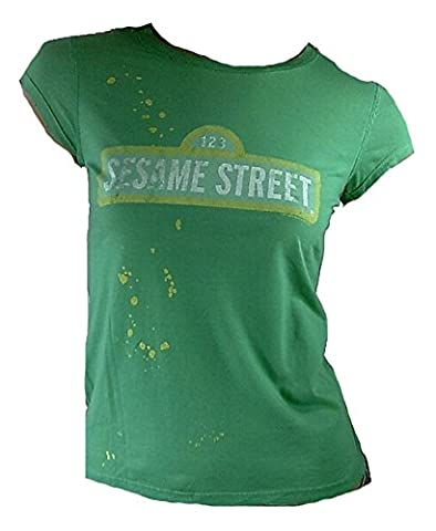 Famous forever lady t-shirt pour femme official sesam street vert 123 sesamstrasse merchandise rétro culte (Effetti Sonori Machines)