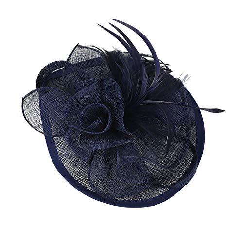 ZEELIY Mode Damen Elegante Blumen Polka Punkt Mesh- Netz Schleier Feder Fascinator Haar Klipp Hut Hochzeit Cocktail Ocktail Hut