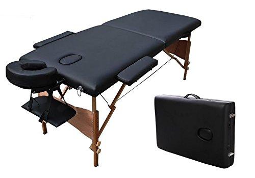 Camilla masaje Madera reiki 185x60cm plegable 2 cuerpos negra