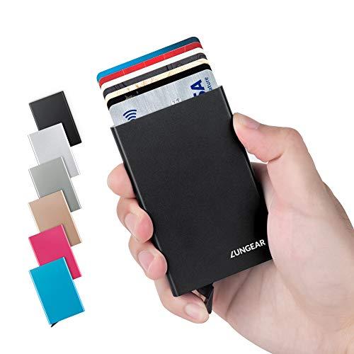 LunGear Tarjetero para Tarjeta de Crédito RFID Bloqueo,Delgado Cartera de Aluminio Mini Billetera de Metal Sostener 7 Carta para Hombres y Mujeres(Negro)