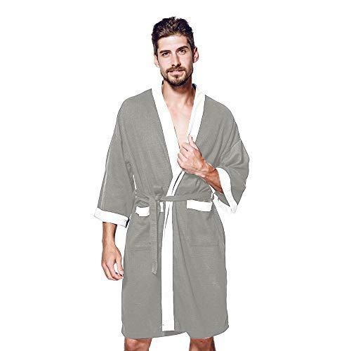 Lmmet accappatoio per uomo lungo scialle con cappuccio spugna microfibra tasche cintura regalo perfetto per palestra spa regalo accappatoio in mosaico di grandi dimensioni