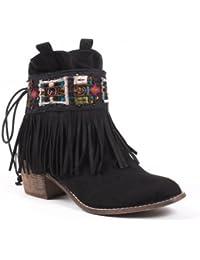 Ideal Shoes - Bottines frangées style indien Carmen