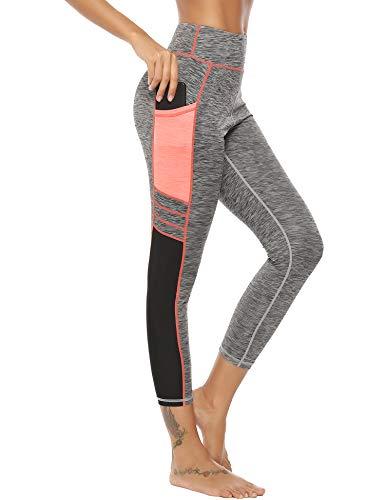 Sykooria Damen Fitnesshose Sport Hosen Hohe Taille Atmungsaktiv Knöchellänge Hüfthose Yogahosen Gym Hose Sporthose Knöchellängemit Tasche