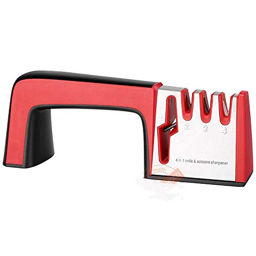 Blackzzz affilacoltelli professionale affilacoltelli portatile in acciaio inox 4 in 1, sicuro e facile da usare per tutti i tipi di utensili rossi
