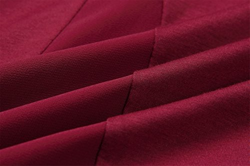 Rolled Roll Sleeve Trasparente Inserti Pannelli di Rete Layered con Fondo Asimmetrico Bottoni Abbottonatura sul Rétro Ampio Grossa Allentato T-Shirt Maglietta Top Borgogna