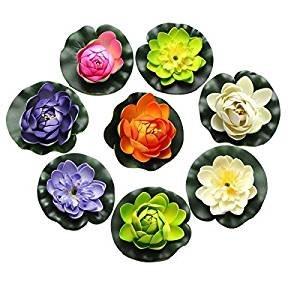 8ST Schaum Seerose Blume Dekor künstliche schwimmende Teich Pflanzen gefälschte Lotus Multicolor