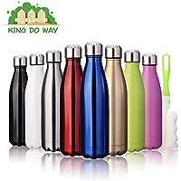 KING DO WAY 500ml Bouteille d'eau Isotherme Mug avec Brosse De Nettoyage Réutilisable en Acier Inoxydable pour Sport Camping Randonnée Water Bottle