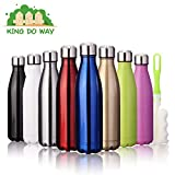 king do way Insulated Stainless Steel Water Vacuum Bottle Flask Double-Walled with a Brush for Outdoor Sports Hiking Running, 500ml /18 oz (Black)