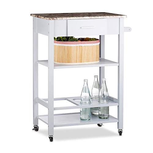 Relaxdays Carrello da Cucina con Porta-Bottiglie, Top in Effetto Pietra, Cassetto, Legno di Pino, Grigio, HxLxP: 87x64,5x40 cm
