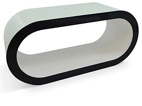 Zespoke Design Blanc Brillant Table Côtés Noirs Cerceau de Café TV/Meuble en Différentes Tailles