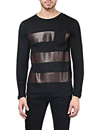 ACOMHARC INC STRIPPED FAUX LEATHER ROUND NECK T-SHIRT WITH CONTRAST PATCH POCKET