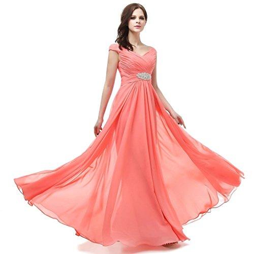 jydress womes de Col en V robe de soirée longue dos-nu en mousseline de soie Rouge - Rouge