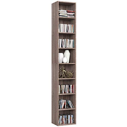Homfa 180cm Meuble Rangement Bibliothèque Étagère CD Colonne Musique pour Bureau Salon Chambre d'Étude 30x23.5 (Chêne)