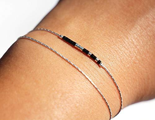 Bracelet fin double tour, chaine serpent argent massif 925, et perles miyuki noir et argenté
