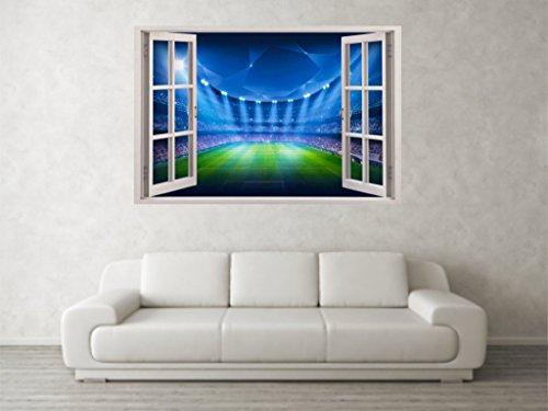 mpions League Szene 3D Full Farbe Fenster Wand Aufkleber Wandbild Aufkleber (Die Zimmer Der Fußball-szene)
