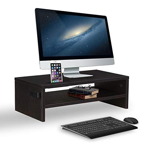 Preisvergleich Produktbild KOOLWOOM Monitorständer aus Holz,  perfekt für Computer,  iMac,  Drucker,  Notebook,  Xbox One,  PS4,  Nintendo Switch 16.5x9.25x5.1 inches braun