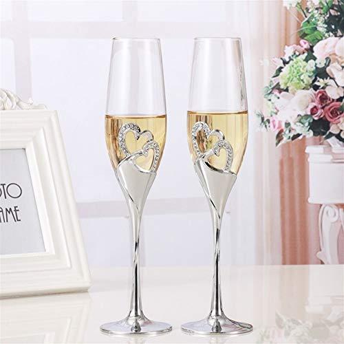 LABAICAI 2 Teile/Satz Kristall Hochzeit Toasten Champagner Flöten Gläser Trinken Tasse Party Ehe Wein Dekoration Tassen for Parteien Geschenkbox (Color : A)