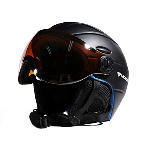 MRDEAR Visor Skihelm - Steuerbarer Belüftung - Unisex Snowboardhelm Erwachsener Skate Helmet mit Visier, für Skifahren Skateboard Outdoor Aktivitäten (M/L/XL),Black,XL