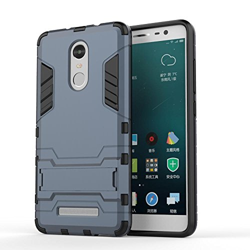 MOBIWAS CLASSIFY redmi note 4 Tough Military Grade Version 3.0 Armor Defender Series Dual Protection Layer Hybrid TPU + PC Kickstand Kick Stand Case Cover - Navy Blue