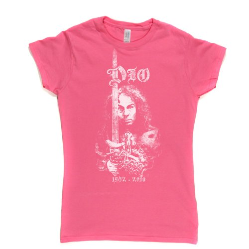 Ronnie James Dio 2 Womens Fitted T-shirt (fuschiapink/white large) -