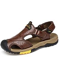 LEDLFIE Sandales pour Hommes Baotou Outdoors Chaussures Décontractées Sandales Crash Chaussures pour Hommes,Brown-38
