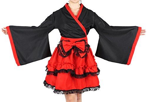Rock Rüschen Kostüm Mit Kurzer - CoolChange roter Lolita Kimono mit Stufenrock Größe: L