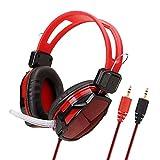 Gaming Headset Für Ps4 Xbox One, 3,5-Mm-Kabel-Bass-Stereo Mit Mikrofon Für Pc/Pc/Mobile - Rot Kopfhörer