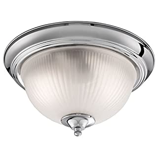 Searchlight American Diner Bathroom Flush Ceiling Light Brushed Silver Chrome Acid Ribbed Glass 4042