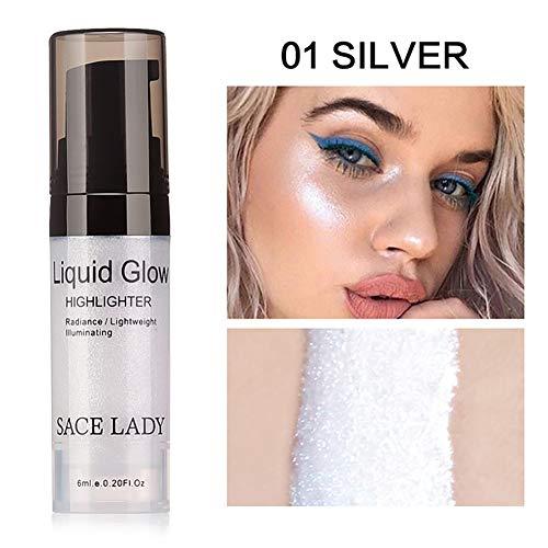 Beito 1pc Shimmer Liquid Pearl surligneur Liquid Glitter Texture Rouge à lèvres lisse longue durée Glow lèvres Metallic Luster cosmétiques(01 Silver)