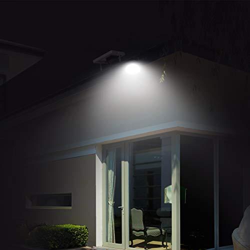Foco Solar Exterior, Foco Led Solar Jardín, lluminacion Exterior Solar,60 LED 6500K IP66 Impermeable Luz Solar Exterior,Lampara Solar para Jardins, Garaje, Acera, Escaleras, Patios Terrazas