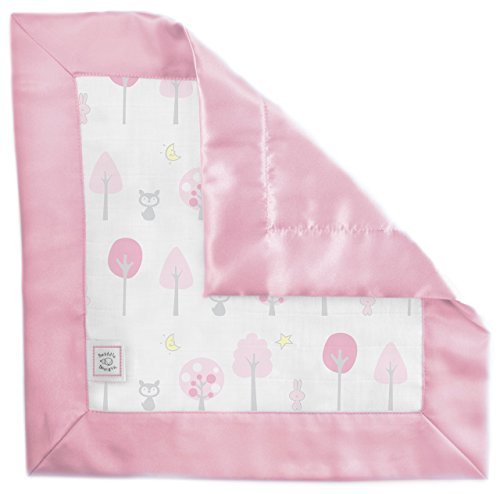 SwaddleDesigns Baumwolle Musselin Baby Lovie Sicherheit Decke, Pink Dickicht mit Satin Trim (Trim Bunny)