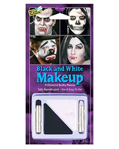 Horror-Shop Schwarz-Weiß Make Up Set für Fasching & Halloween (Schwarze Make-up Für Halloween)