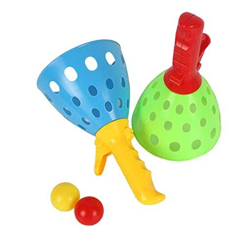 Gazechimp Kinder Fangballspiel Fanggriffe Fangball Spielzeug Satz - 2* Pop-Launcher Körbe + 2 * Bälle