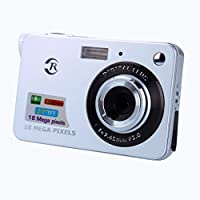 BDJ Digital Camera - 18 Mega Pixels CMOS 8X Zoom 2.7 inch TFT LCD Screen HD 720P Anti-shake Mini Digital Camera UK Plug Sliver for Adult Seniors Teens Students