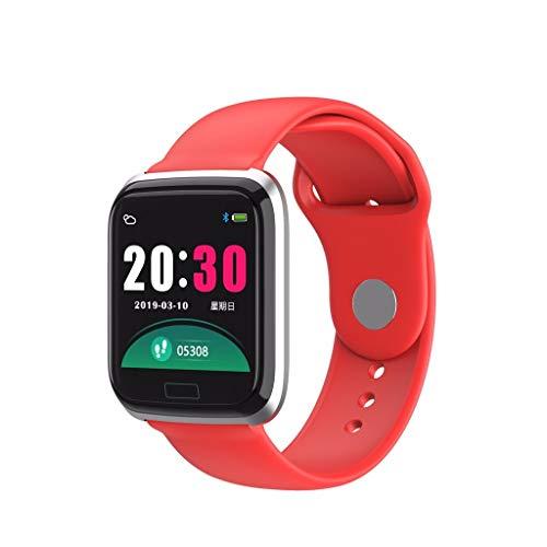 Yumimi88 Fitness Tracker mit Herzfrequenz, Smartwatch Sport Wasserdicht Armband, Fitness Aktivität Herzfrequenz Tracker Uhr Kalorien IP67 (Rot)