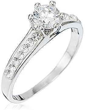 Mes-bijoux.fr - Ring für Damen aus silbernem Metall und mit Elementen aus Swarovski-Kristallen besetzt - WBI83Crygv