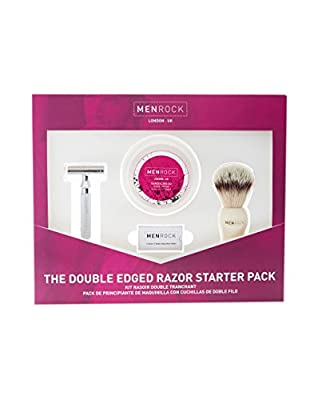 Men Rock Double Edged Razor Shaving Kit for Men– Traditional Safety Razor, Shave Cream, Shave Brush and Premium Blades Packed in a Gift Set