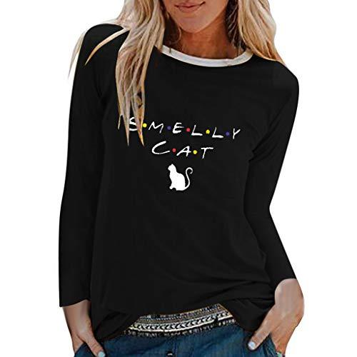 T-Shirt Donna  NnuoeN Magliette Girocollo a Manica Lunga Donna Maglia a Maniche Lunghe Donna Camicia Donna Elegante con Stampa Cat Bluse e Button Down Camicie