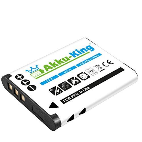 Xacti (Akku-King Akku für Pentax Optio H90, P70, P80, W90, WS80 - ersetzt D-Li88 - Li-Ion 700mAh)
