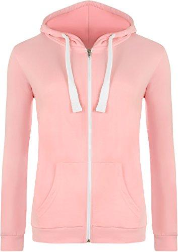WearAll - Neu Damen Mit Kapuze Reißverschluss Langarm Elastisch Hoodie Top - Rosa - 42 (Jersey Pullover)