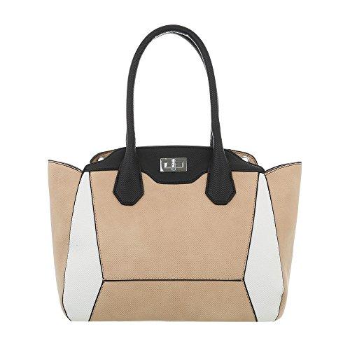 Ital-Design Damen-Tasche Mittelgroße Handtasche Mit Schulterriemen Kunstleder Apricot Multi TA-A235