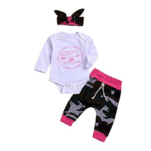 ef Print Strampler Overall + Camouflage Hosen + Stirnband Set Kleidung T-Shirt + Shorts Hosen Hosen Weiß Für 6 Monate-24 Monate (24M, Weiß) ()