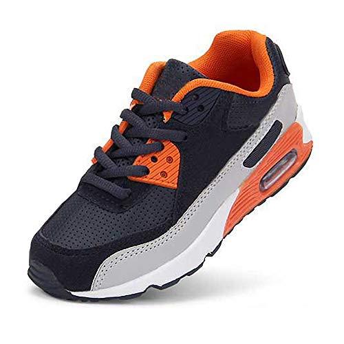 Daclay Kinder Schuhe Jungen Mädchen Turnschuhe Laufschuhe Sneaker Outdoor für Unisex-Kinder (28 EU, Navy/Orange) Orange Multi Leder