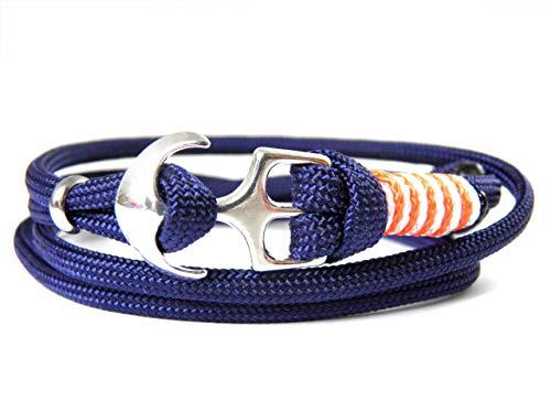HanseCharms - Maritimes Surfer Anker Armband-Typ III aus den USA-Armband-Verstellbar-Unisex-Wickelarmband-Geschenk-Midnightblue Typ III + Neon Orange u. Weiß - Micro Cord (Weiß Aus Kontakte Kostüm)