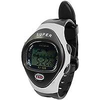 Einstellbare Armband Runde Fall Alarm Stoppuhr Sport-Armbanduhr-Schwarz für die Dame