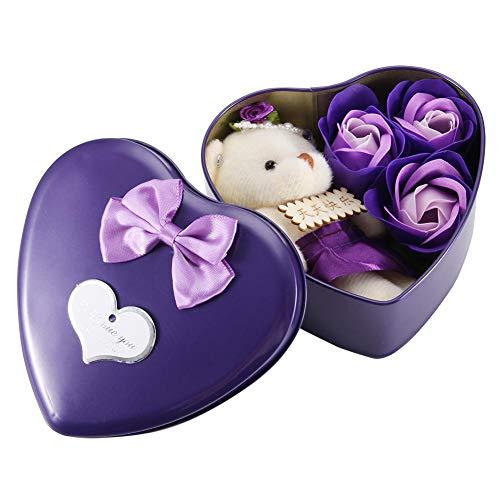 Wifehelper Simulación Artificial Flor de Jabón Flor de Rosa Falsa y Oso Caja de Hierro con Forma de Corazón Romántico Caja de Regalo para el Día de San Valentín Navidad Día de la Madre(Morado)