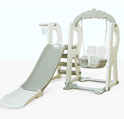 Thole 3 in1 Kinder Spielplatz Schaukel mit Rutsche und Basketballkorb Kombination für Indoor/Outdoor Garten Rutschbahn,White