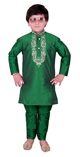 Jungen Indian Rohseide Kurta mit Churidar für Eid Ramadan & Bollywood-Thema Party Kinder-Kostüm 922 (13 (13-14 Yrs), Grün) (Bollywood Themen Kostüm Party)